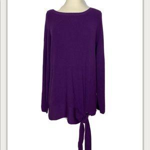 Halogen Knit Tunic Sweater Tie Knot purple medium